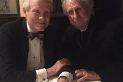 Pittsburgh Post-Gazette senior theater critic Chris Rawson (left) and Rene Auberjonois talked about Pittsburgh after the Theater Hall of Fame induction Monday, Nov. 12, in New York.