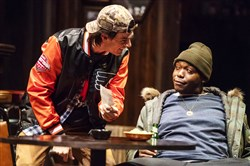 "Patrick Cannon, left, and Ananias J. Dixon are facing hard times in the once thriving steel town of Reading, Pa., in ""Sweat,"" which which runs through Dec. 9 at the O'Reilly Theater, Downtown."