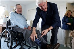 Former President Bill Clinton visited former President George H.W. Bush at the Bush home in Kennebunkport, Maine, in June. Mr. Bush fancied fanciful socks.