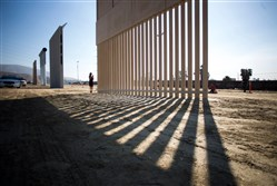 Border wall prototypes on display at a Department of Homeland Security event in San Diego in 2017.