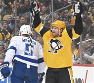 Pittsburgh Penguins right wing Phil Kessel celebrates after scoring against Tampa Bay Wednesday Jan. 30, 2019 at PPG Paints Arena.