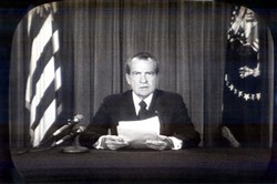 Richard Nixon announces his resignation as president on Aug. 8, 1974.
