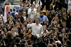 Democratic presidential candidate Beto O'Rourke thanks students as he leaves the Penn State campus in State College March 19.