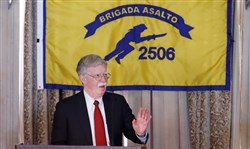 National security adviser John Bolton gestures while discussing new Trump administration policy during a speech April 17, 2019, in Coral Gables, Fla., at the Bay of Pigs Veterans Association.