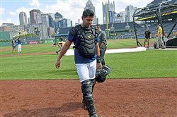 Pirates catcher Francisco Cervelli walks off the field after catching a sim game Wednesday, Aug. 7, 2019, at PNC Park.