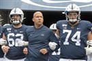 Penn State head coach James Franklin takes the field against Pitt on Saturday, Sept. 14, 2019, at Beaver Stadium at University Park.