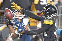 Steelers safety Terrell Edmunds breaks up a pass intended for Rams wide receiver Josh Reynolds in the fourth quarter Sunday, Nov. 10, 2019, at Heinz Field.