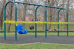 "A playground closed with caution tape in Allegheny Commons in the North Side. With parents and children spending more time together indoors, officials expected the numbers of reported abuse to increase. But, so far, there are fewer people calling for help. ""Everybody's staying at home. There's a stay-at-home order. When that happens, these kids become invisible. Abuse certainly didn't stop,"" said one official."