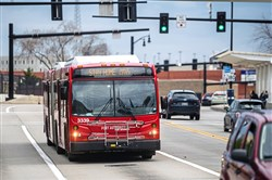 A port authority bus on its route on Penn Avenue, Tuesday, April 7, 2020, in East Liberty.