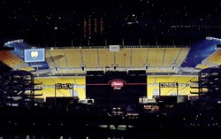 "Heinz Field is lit with the scoreboard showing the #LOVEFROMPGH graphic during ""Illumination Ovation"" Tuesday, April 7, 2020, on the North Shore."