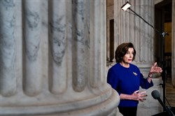 House Speaker Nancy Pelosi, D-Calif., conducts an interview April 1 on Capitol Hill in Washington. Democrats say the $250 billion requested by the Trump administration for loans for the businesses will not pass unless money is included for hospitals and state and local governments.